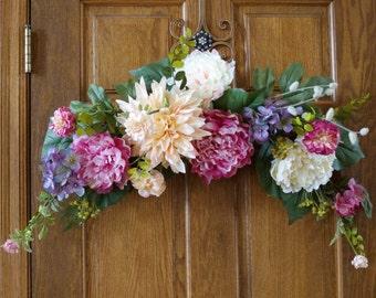 Springtime Swag Summer Wreath, Spring Wreath, Peony Wreath,Door Wreath