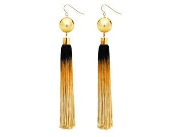 Bohemian Statement Earrings, Ombre Tassel Earrings, Fringe Earrings, Black and Gold earrings