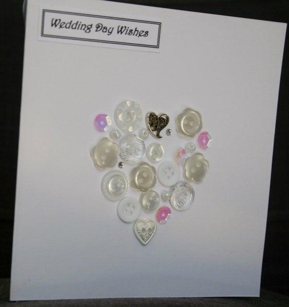Handmade 'vintage style' button heart Wedding card