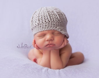 Hand Crochet Baby Hat Newsboy Paperboy Peaked Photography/Photo Prop Newborn-12 Months Baby Boy/ Girl UK Seller Navy, Cream Or Brown