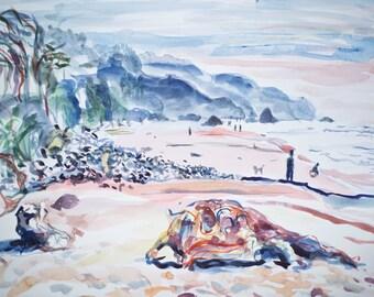 Arcadia beach, Oregon - original watercolor painting