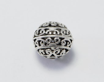 20pcs Tibetan Beads in Antique Silver, Small Hole, 12mm Filigree Beads, Nice Design. Great Supplies for your Jewelry Projects #SD-S6903