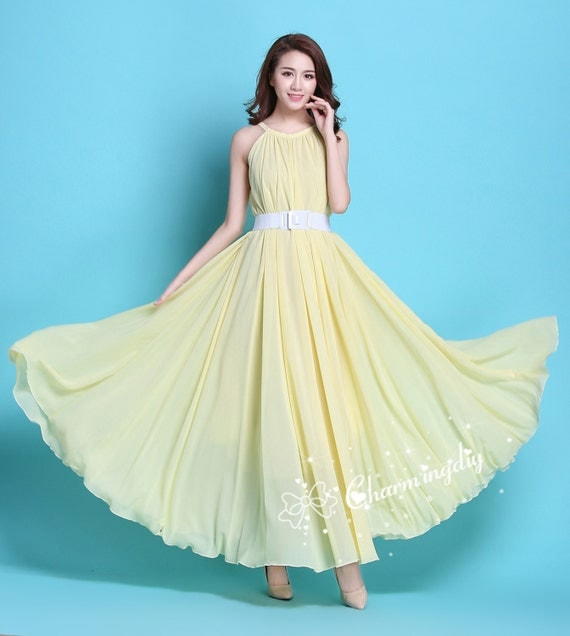 60 Colors Chiffon Light Yellow Long Party Dress Evening