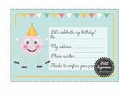 """PDF/Carte d'invitation d'anniversaire """"Petit monstre"""" à imprimer"""