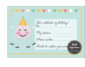 "Printable birthday card invitation ""Pink monster""/PDF"