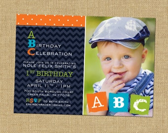 Blue and Orange Boy Birthday Party Invite Alphabet Party Invitation ABC Theme Party 1st Birthday Party Invite Baby Boy Birthday