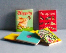 Pets and Animal Covers - Set of 6 Wonder Books - Dollhouse Miniature 1:12 scale - Dollhouse children nursery books - cat, puppy dog, bunny