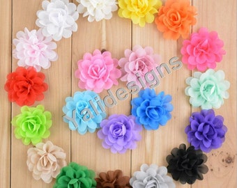U Pick! 5CM 2'' inch Chiffon Flower For Girls Headband Shoes Accessories DIY Fabric Headband Accessories-Mixed Color-YTA54
