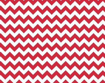 Riley Blake small red chevron fabric by the yard, Christmas fabric, Valentine fabric, nautical fabric, holiday chevron fabric for sewing
