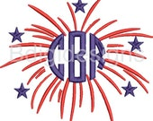 Fourth of July Firework Monogram Embroidery Design