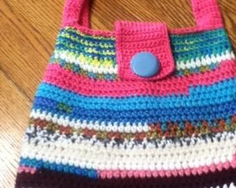 Handmade Crocheted Pinks/Blues Shoulder HandBag, Lined, button closure