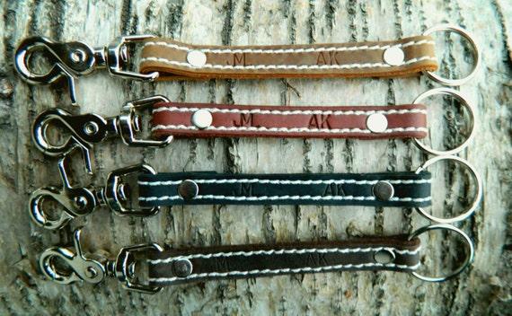 Personalized Leather keychain lanyard handmade in ALASKA belt clip split ring Leather