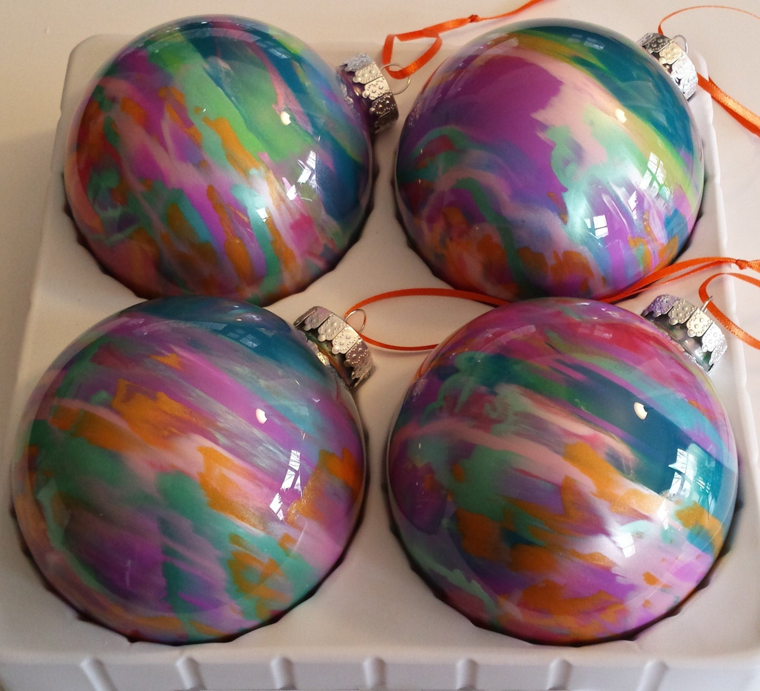 How To Decorate Glass Ornaments For Christmas: Paint Swirled Ornaments Large 100mm Painted Glass By