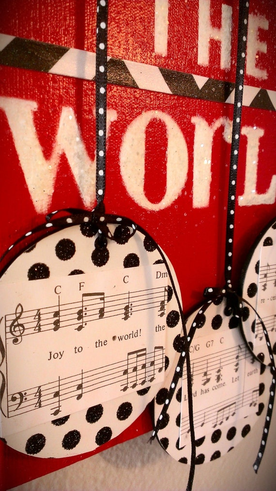 Wall Decor Music Theme : Music themed christmas canvas joy to the world wall