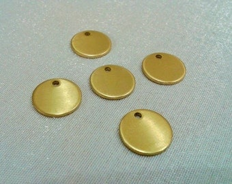50 Pcs Raw Brass 12 mm Round Stamping Blank Disc-   ( 1  Hole -Thickness Of 1 mm ) 18 Gauge