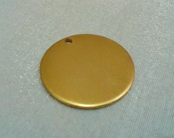 10 Pcs Raw Brass 25 mm Round Stamping Blank Disc ( 1 Hole -Thickness Of 1 mm ) 18 Gauge
