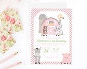 Pink Farm Birthday Invitation for a Girl | Farm Party Printable Invite | Petting Zoo Invitation | Farm Theme Party | Printable Invitation