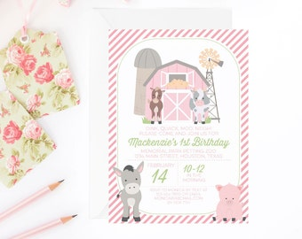 Pink Farm Birthday Invitation for a Girl | Farm Party Printable Invite | Petting Zoo Invitation | Farm Theme Party | Printable Invitation