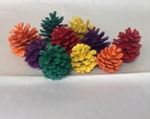 Hand painted Thanksgiving pinecone decor. Fall decor. Table decor. Perfect in a vase or bowl.