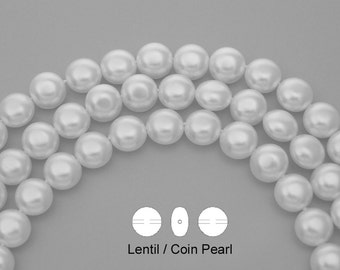50 Czech Lentil, Coin Glass Pearls 9x6mm Bridal White Pearl