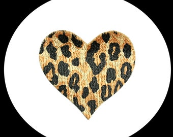 Lot of 3 Pieces -- Cheetah Leopard Print Heart Iron On Patch Applique Sewing Notions Scrapbooking Embellishment Decoration Supplies CF1689