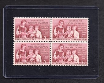 National Education Association - Honoring The Teachers Of America - Block Of Four Or Eight Loose 1957 Unused Postage Stamps - Vintage