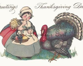 Vintage Thanksgiving Postcard, Vintage Postcard, Pilrgim Girl, Carrying Baket, Large Turkey, Postcard Download, INSTANT Download