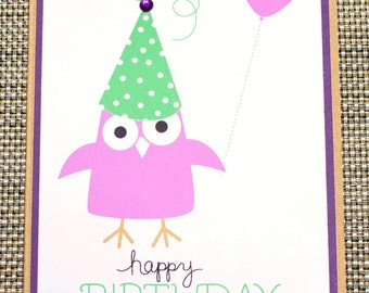 Birthday card - Owl and balloon - purple and green  - P5/28