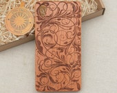 Abstract Floral Design | Acanthus |Natural Cherry Wood Phone Case iPhone 7 8 X HTC M10 Samsung Galaxy S5 S6 edge S7 S8 Plus Note 4 5 8