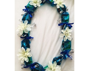 Blue Candy Lei with White Flowers