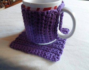 Crochet coffee cup cozy and mug rug set