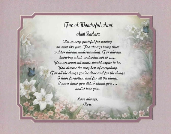Items similar to Personalized Poem For Aunt Gift For ...