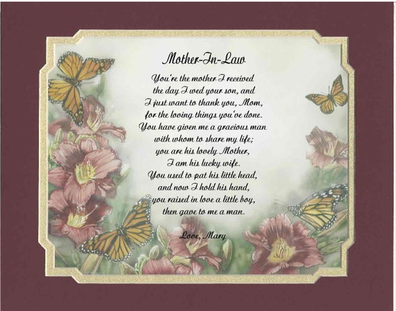 Personalized poem for mother in law gift for mother 39 s day for Mother s day gift for mother in law