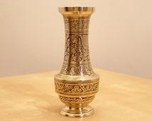 Vintage solid brass vase    floral pattern    Made in  India No. 52