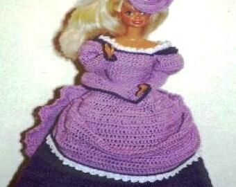 Crochet Fashion Doll Barbie Pattern- #179 VICTORIA IN PURPLE