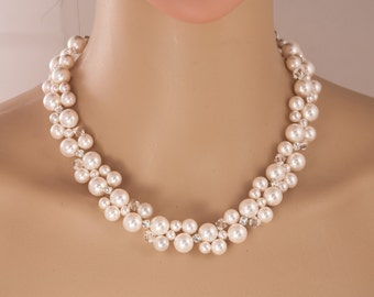 Swarovski Bridal Necklace, Crystal and Pearl Cluster Wedding Necklace, Rhinestone Statement Necklace,