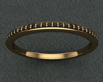 Black Diamond Half Eternity Ring on 14K Yellow Gold
