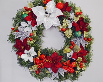Christmas Wreath, Pine Wreath, Holiday Wreath, Door Wreath, Floral Wreath, Traditions, Ready to Ship!