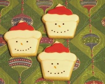 Snowman Cookies, Winter Cookies, Christmas Cookies, Party Favors
