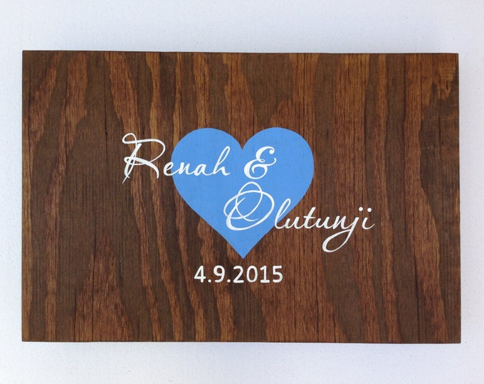 Rustic Wedding Guest Book Alternative Wood Sign, Custom Guest Book with Heart and decorative pen, Wedding Guestbook Idea
