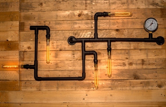 Steampunk pipe wall light industrial black steel with vintage - Add spark wall art picture lights ...