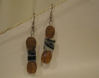 Brown and Blue Beaded Dangle Earrings