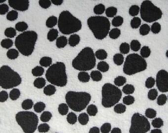 Black paws on White cuddle fleece
