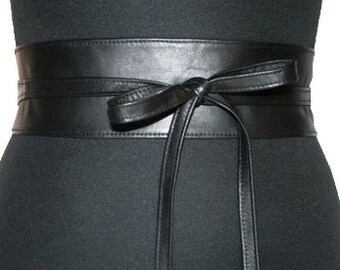 Black leather obi belts.