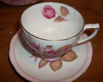Vintage Colclough Tea Cup and Saucer - Pink Flowers