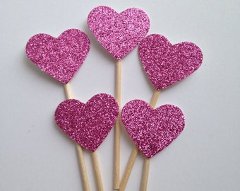 Hot Pink Heart Cupcake Toppers