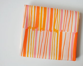 orange stripe fabric   Vitrine Watermarks Zest, Morning Walk by Leah Duncan for Art Gallery fabric by the yard, pink yellow white geometric