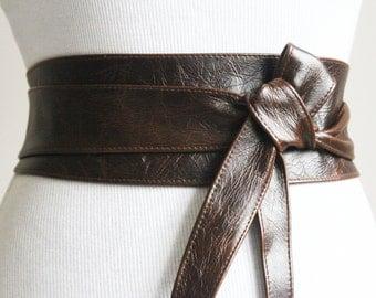 Vintage Dark Brown Leather Obi Belt wrap tie  Waist or Hip Belt   Leather tie belt   Real Leather Belt  Handmade Belt   Plus size belt