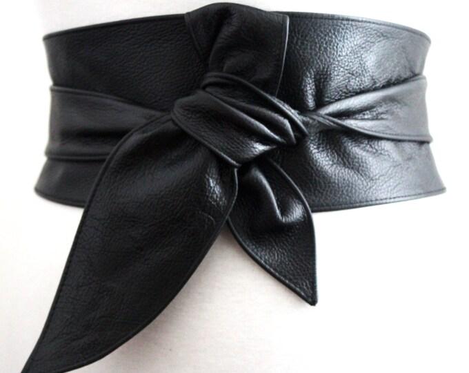 Featured listing image: Black Belt  Gift for her  Black leather obi belt  Leather sash belt Real leather belt  Obi Belt  Plus size belt  Wrap tie belt  Leather Belt