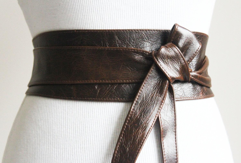 vintage brown leather obi belt wrap tie waist or hip
